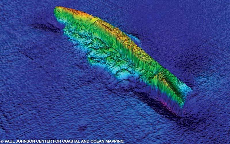 Colorful sonar image of the sunken ship