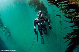 A male freediver swims around corals