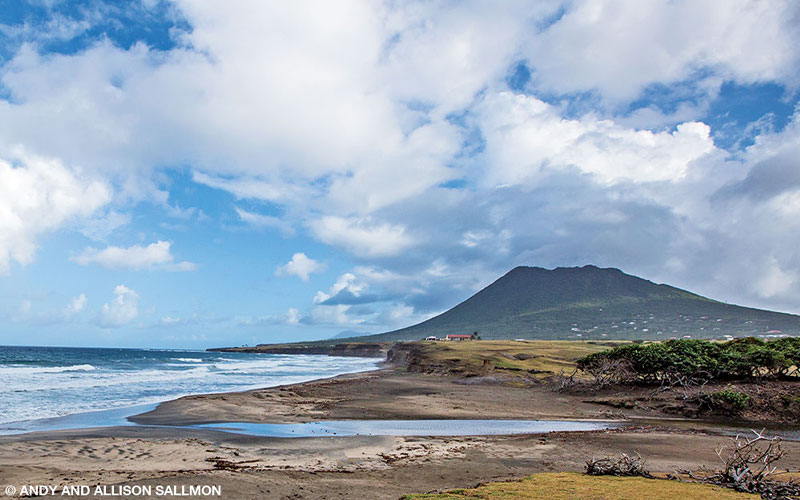 The Quill, a dormant volcano, overlooks the black sand beaches of the Atlantic coast of Statia.