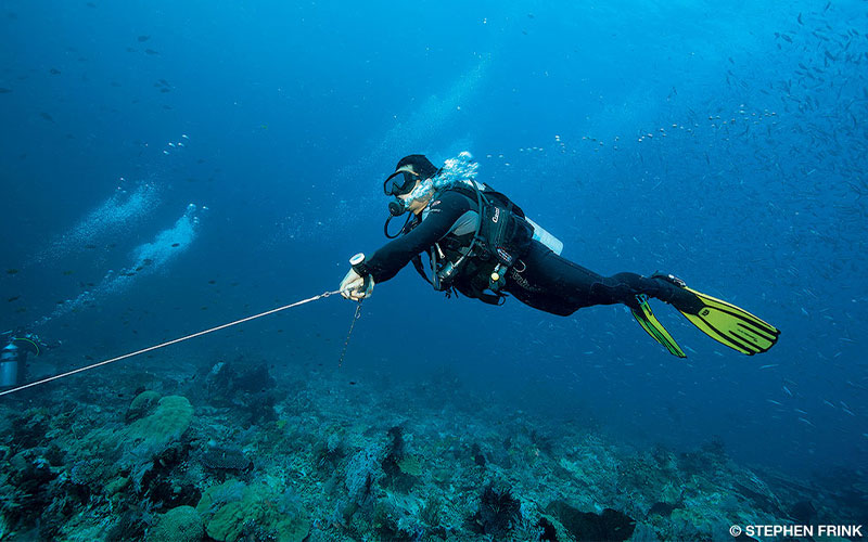 A diver fights strong currents by holding a line