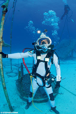 A NASA astronaut trains while in saturation during a NASA Extreme Environment Mission Operations mission.
