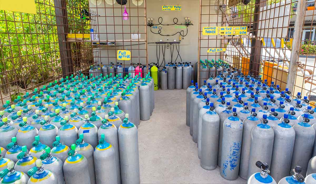 Compressor room displays a variety of cylinders