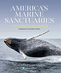 The cover of America's Marine Sanctuaries shows a humpback whale breaching the ocean surface.
