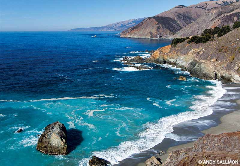 The ethereal view of California's Big Sur coastline features rugged cliffs, rock islets and secluded, sandy beaches.