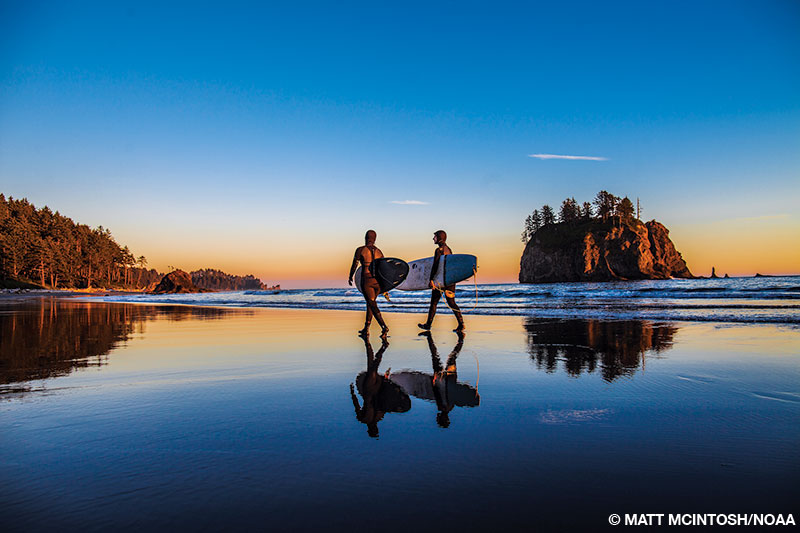 Surfers look seaward at dawn from a beach while carrying their surfboards.