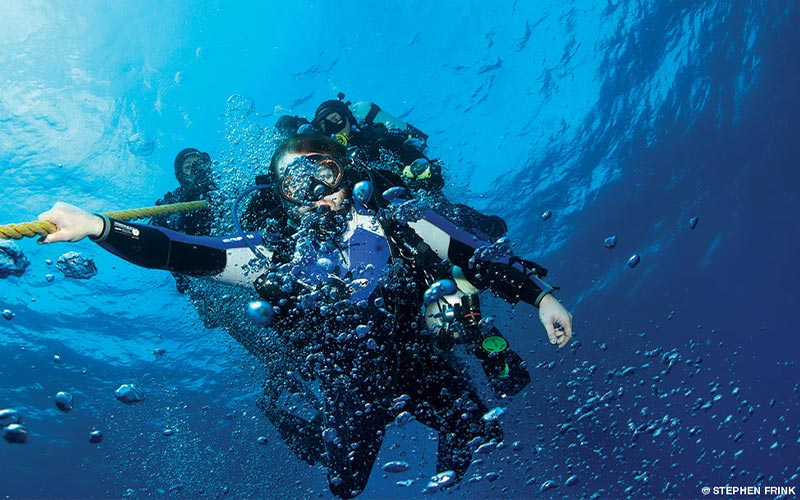 Divers hold onto a line and make a safety stop