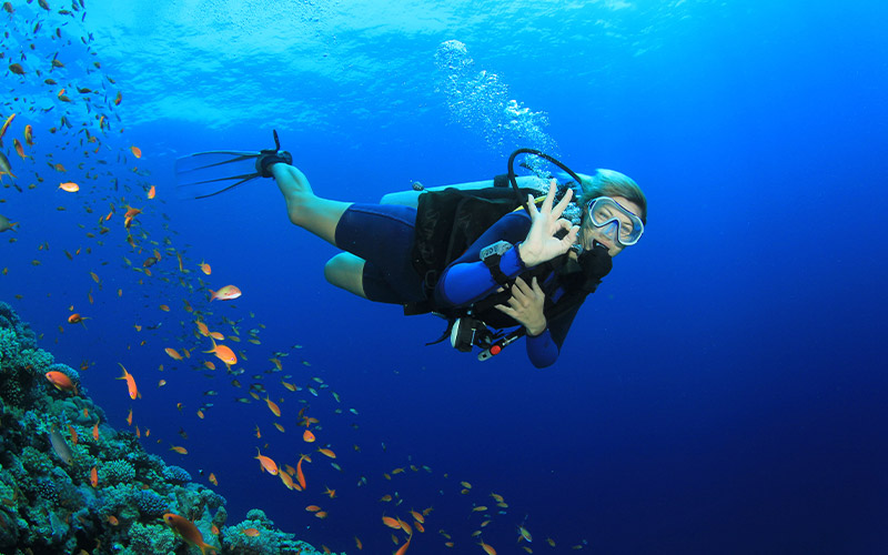 Female diver gives OK sign to camera 800x500