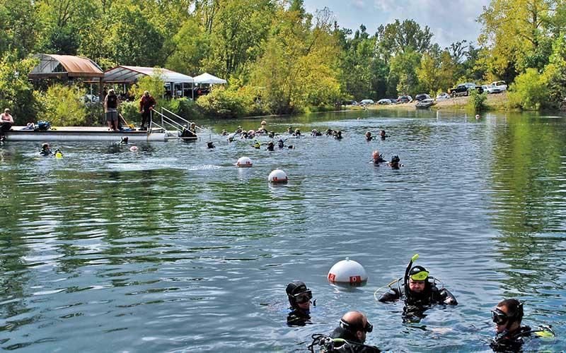 Quarry full of divers