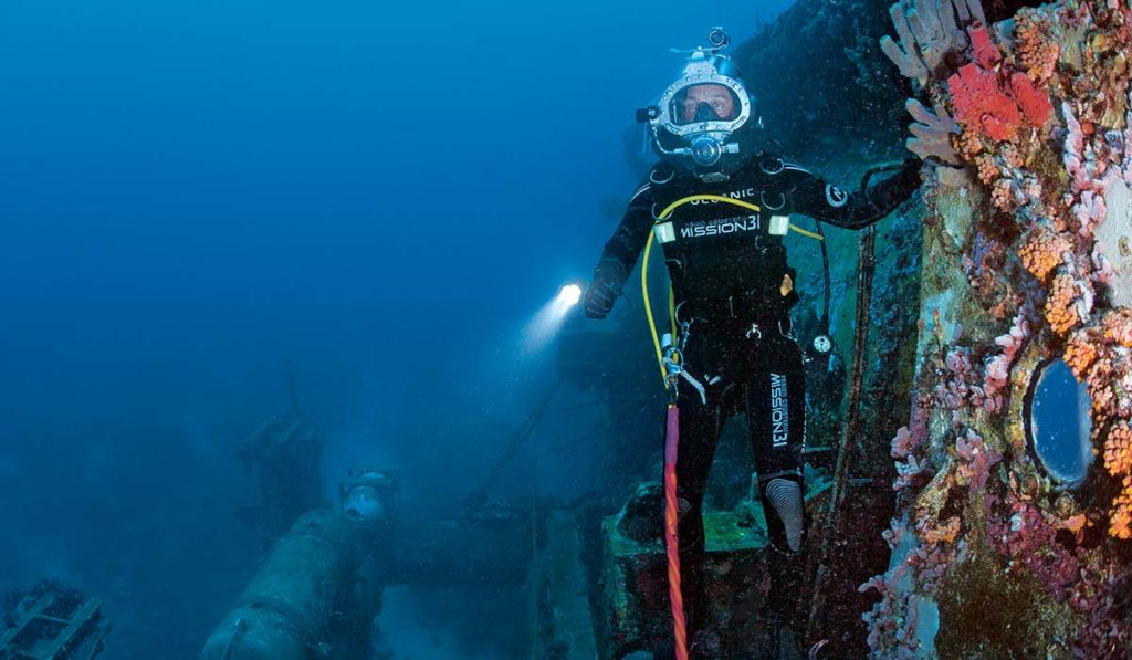 Diver emerges from an underwater base