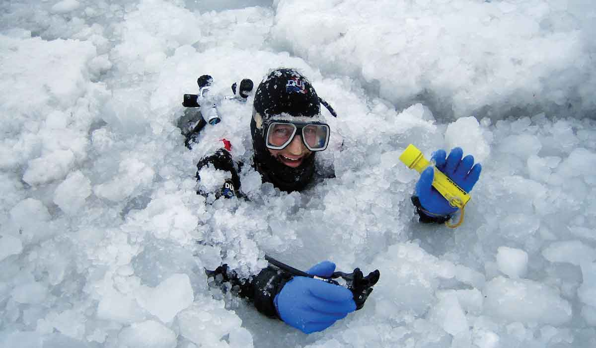 Drysuit diver in blue gloves pokes head and arms out of icepack