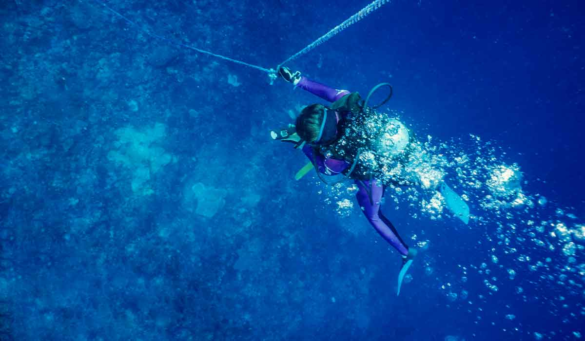 Female diver goes down a mooring line