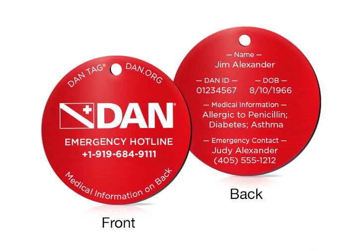 DAN Diver Tags Custom Engraved