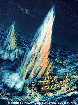 An oil painting depicts the I-52 being hit and sunk by U.S. torpedo bombers.