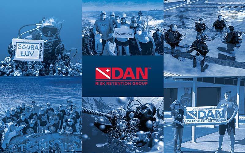 Six photos of six different dive professionals surround a blue DAN logo