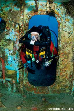 Safely entering a shipwreck requires specialized equipment and training.