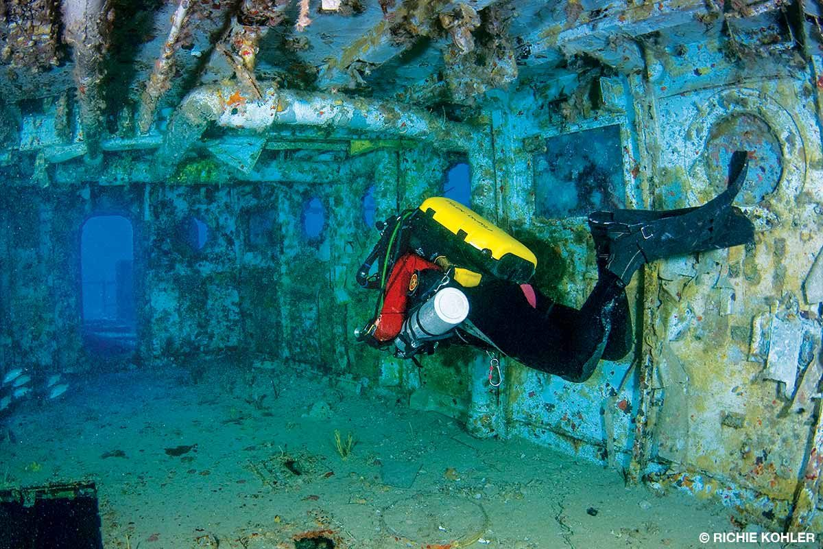 Swimming through a wreck with good trim, buoyancy and finning technique is essential.