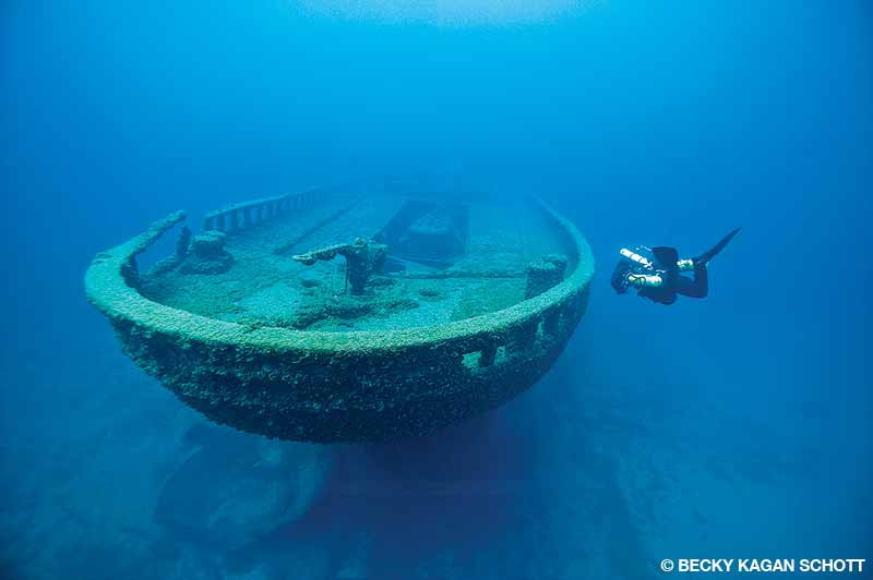 The stern of the Grecian sits upright in 60 to 100 feet of water and is a popular recreational site in the sanctuary.