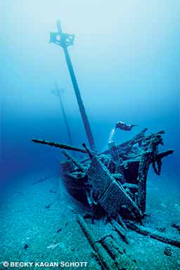 The Kyle Spangler was a two-masted schooner that collided with another schooner in 1860 and sank into 180 feet of water.